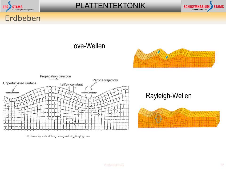 Erdbeben Love-Wellen Rayleigh-Wellen