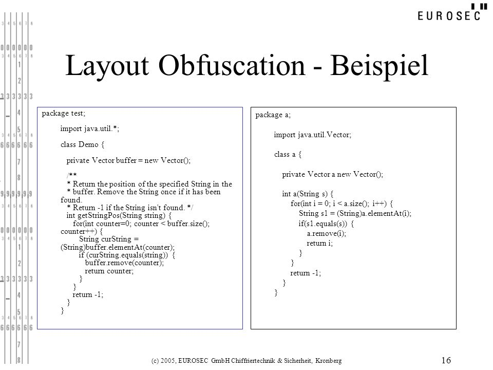 Layout Obfuscation - Beispiel