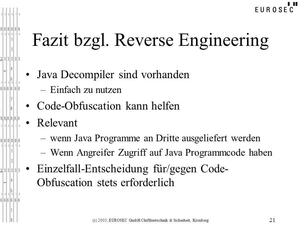 Fazit bzgl. Reverse Engineering