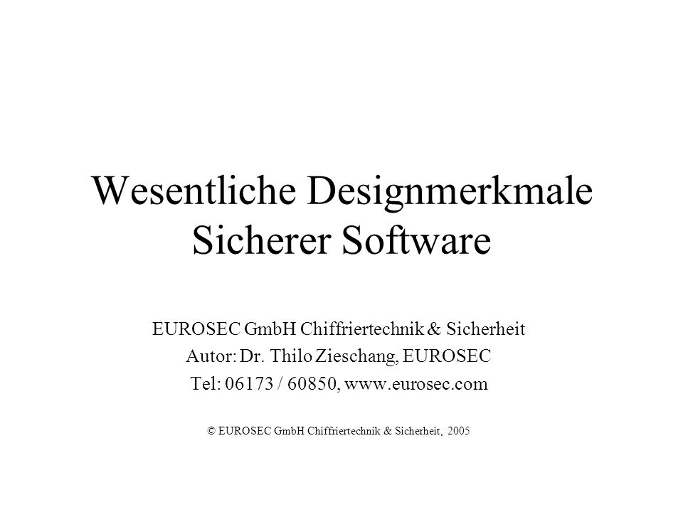 Wesentliche Designmerkmale Sicherer Software