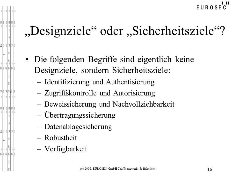 """""""Designziele oder """"Sicherheitsziele"""