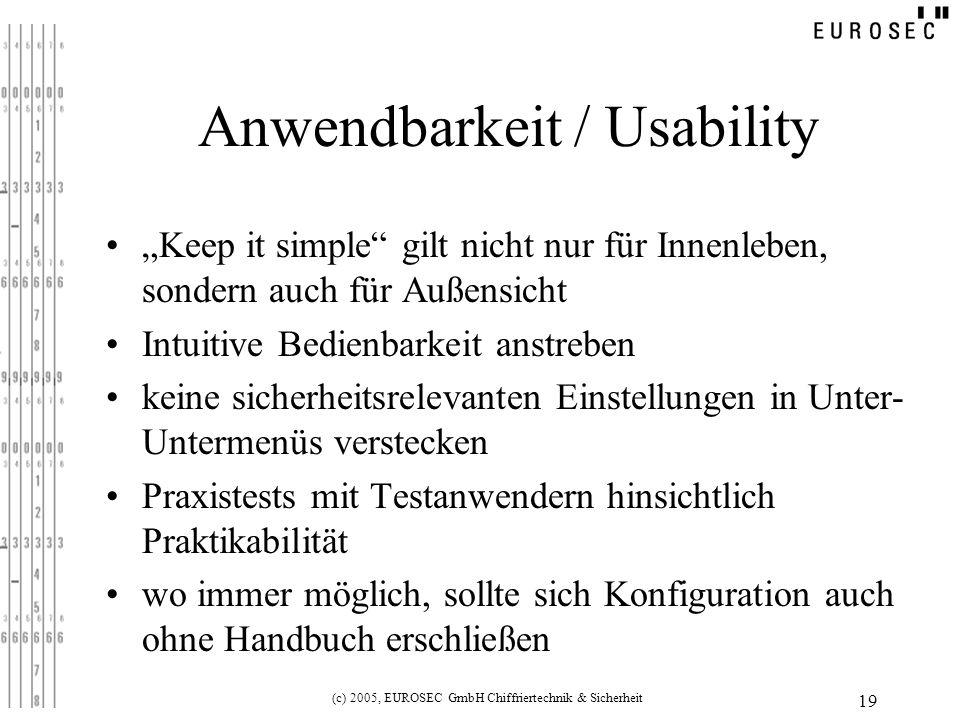 Anwendbarkeit / Usability
