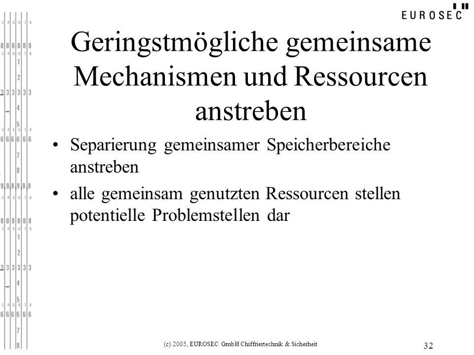 Geringstmögliche gemeinsame Mechanismen und Ressourcen anstreben