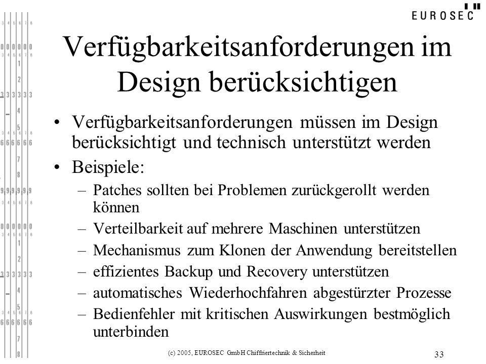 Verfügbarkeitsanforderungen im Design berücksichtigen