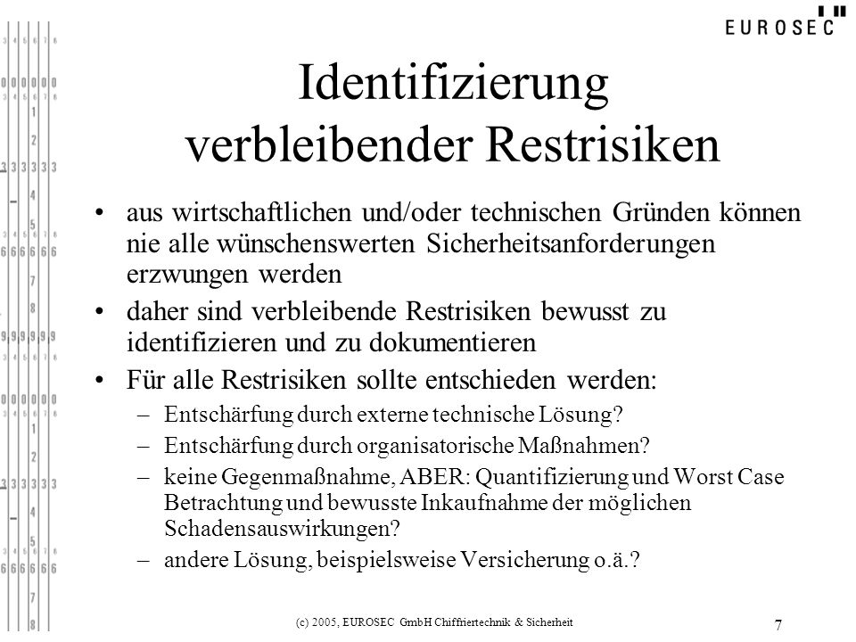 Identifizierung verbleibender Restrisiken