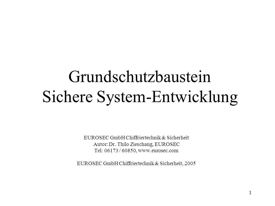 Grundschutzbaustein Sichere System-Entwicklung