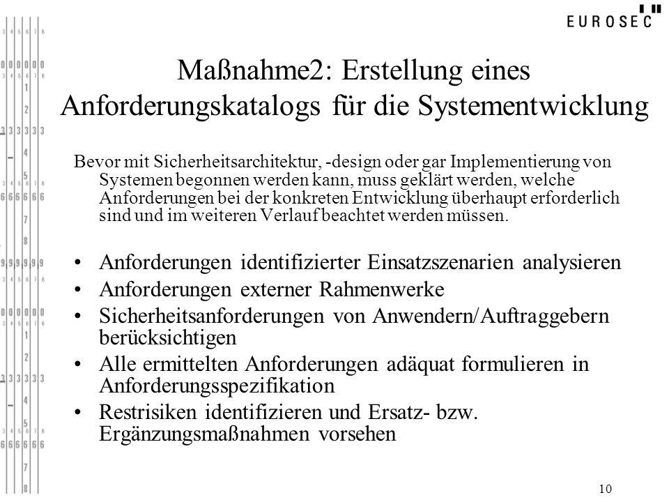Maßnahme2: Erstellung eines Anforderungskatalogs für die Systementwicklung