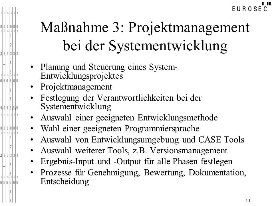 Maßnahme 3: Projektmanagement bei der Systementwicklung