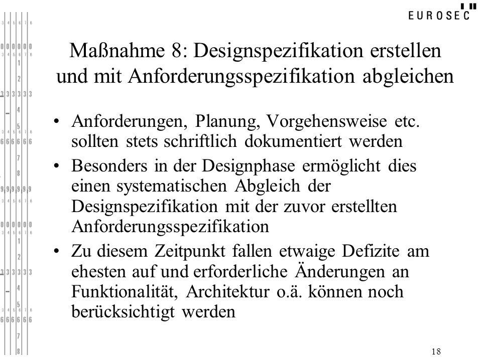 Maßnahme 8: Designspezifikation erstellen und mit Anforderungsspezifikation abgleichen