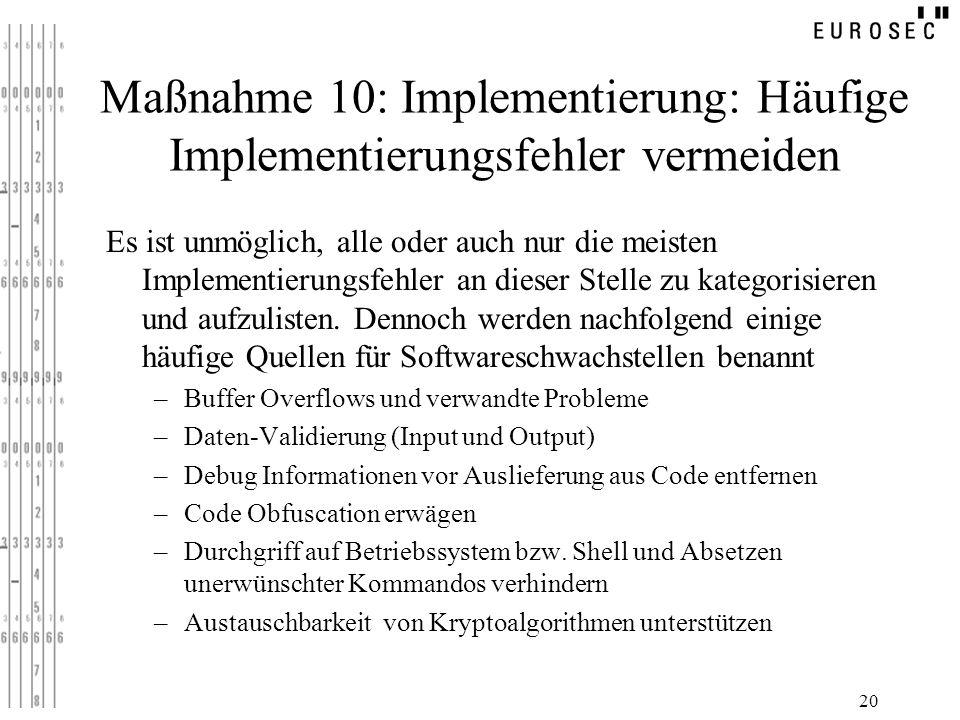 Maßnahme 10: Implementierung: Häufige Implementierungsfehler vermeiden