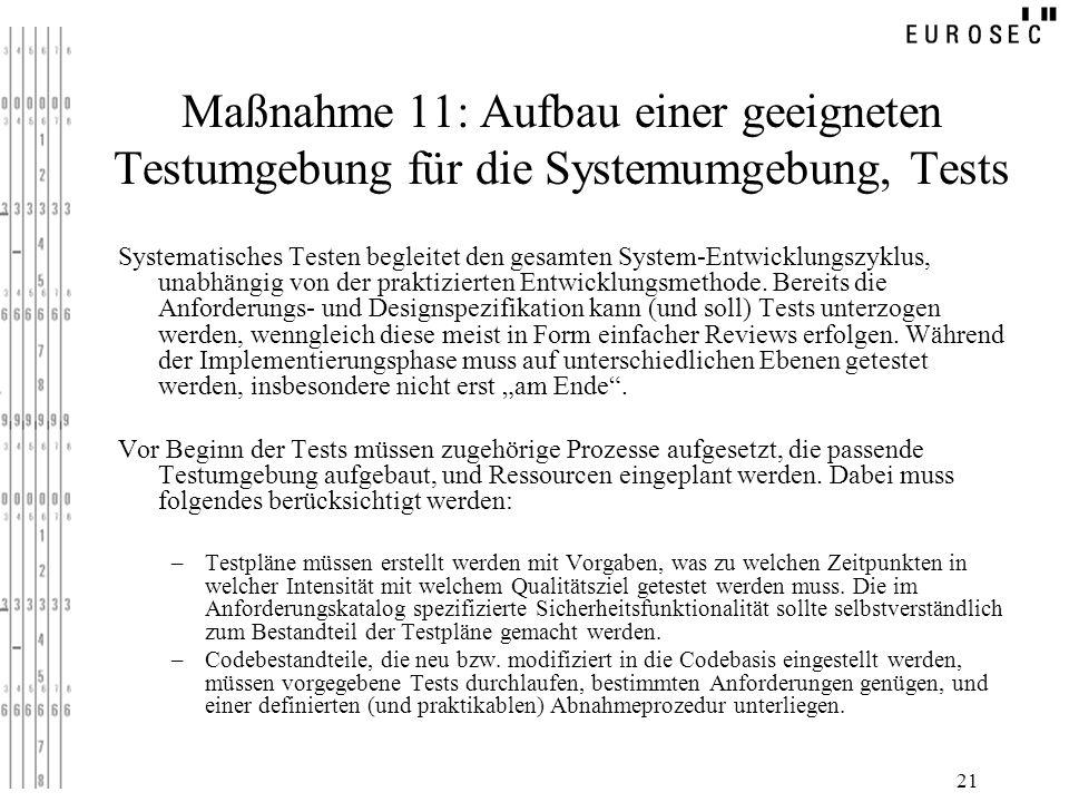 Maßnahme 11: Aufbau einer geeigneten Testumgebung für die Systemumgebung, Tests