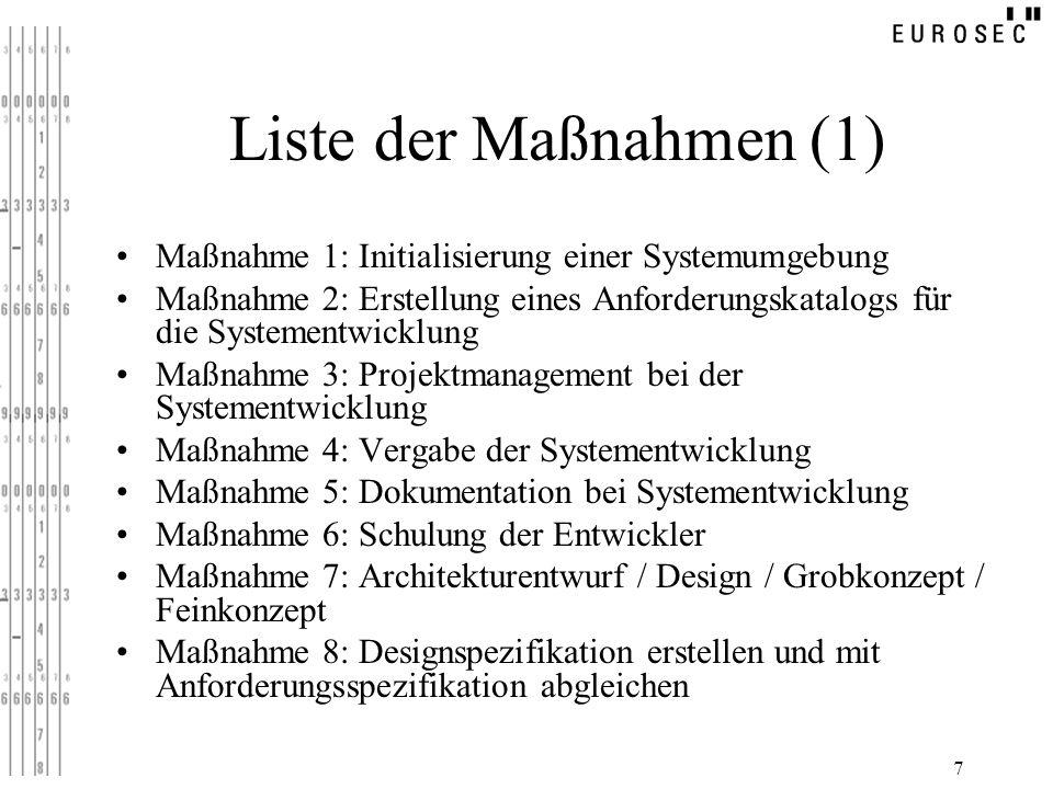 Liste der Maßnahmen (1) Maßnahme 1: Initialisierung einer Systemumgebung.