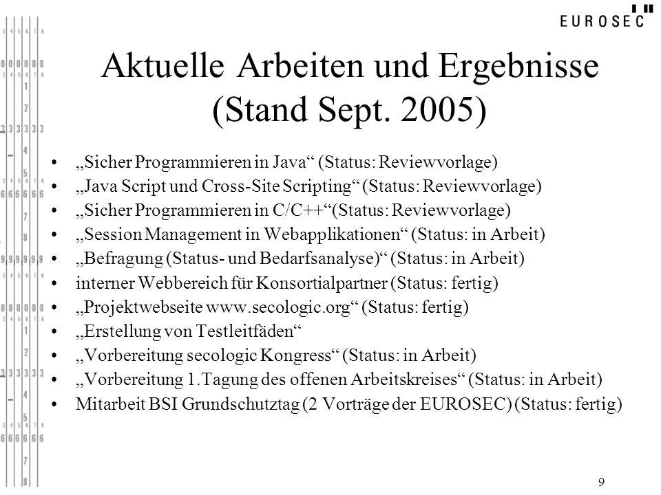 Aktuelle Arbeiten und Ergebnisse (Stand Sept. 2005)
