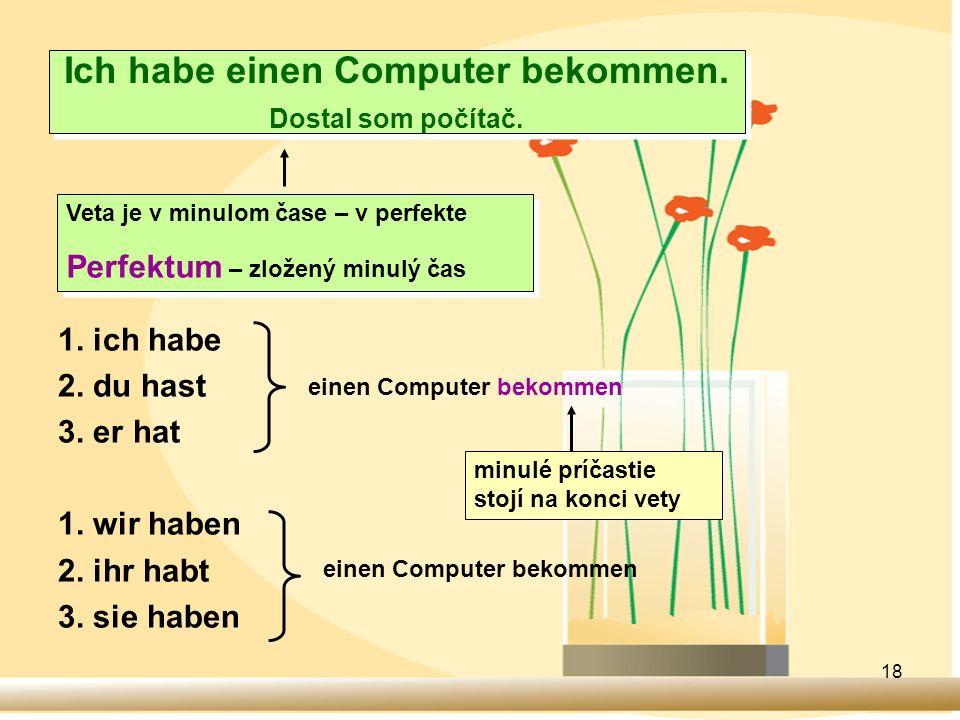 Ich habe einen Computer bekommen. Dostal som počítač.
