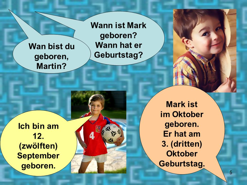 Wan bist du geboren, Martin