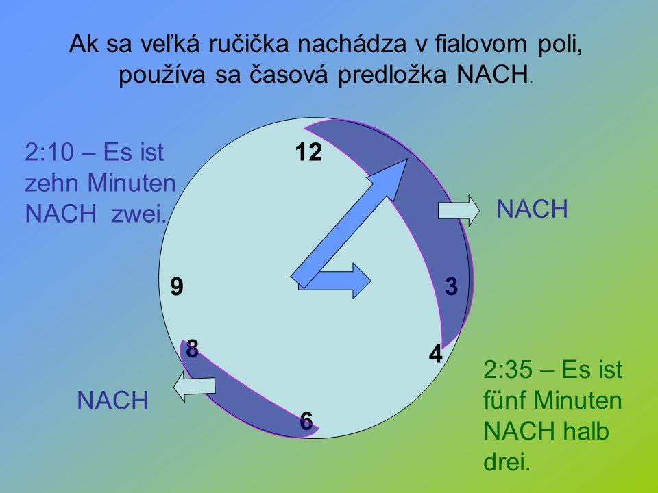 Ak sa veľká ručička nachádza v fialovom poli, používa sa časová predložka NACH.