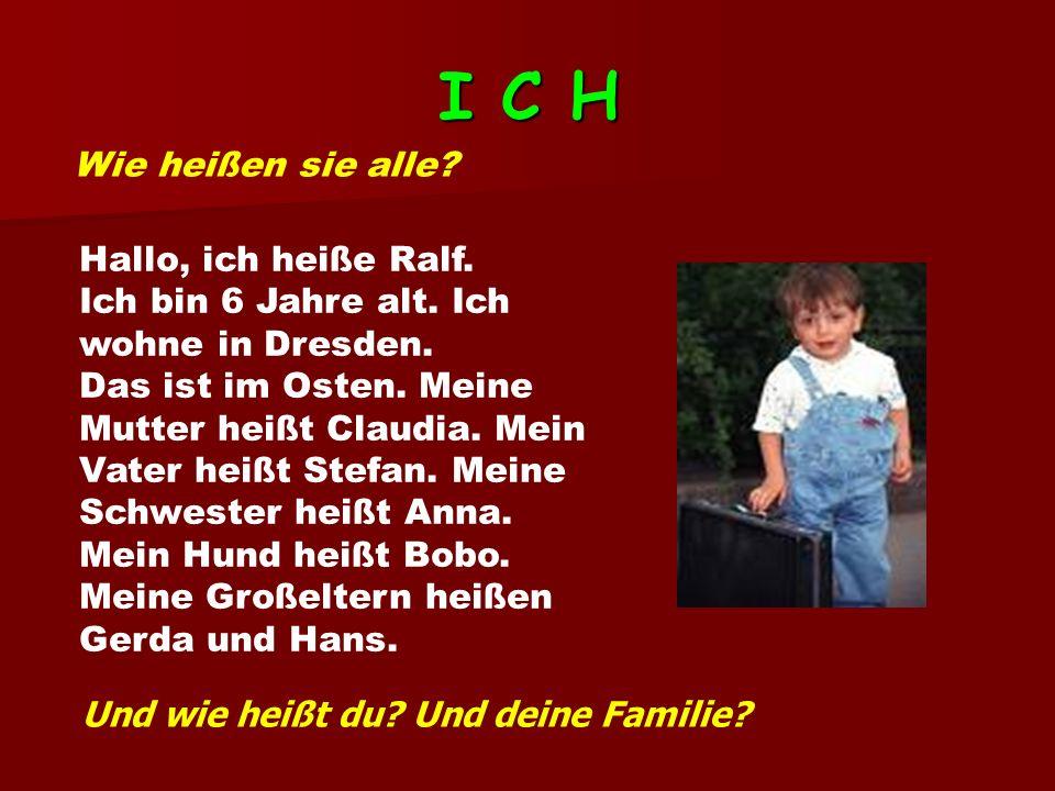 I C H Wie heißen sie alle Hallo, ich heiße Ralf.