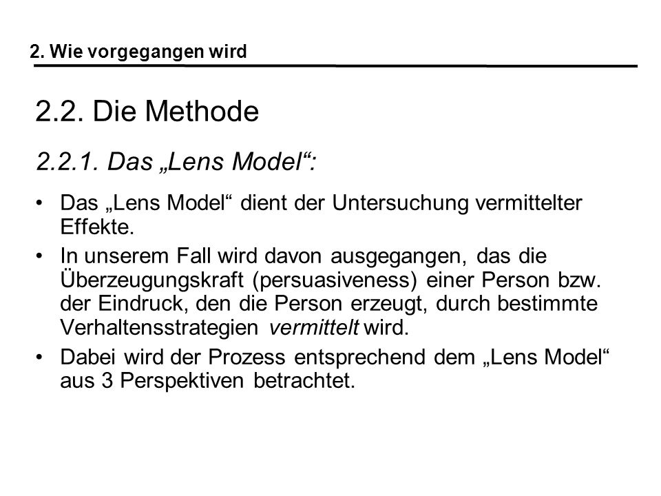 "2.2. Die Methode 2.2.1. Das ""Lens Model :"