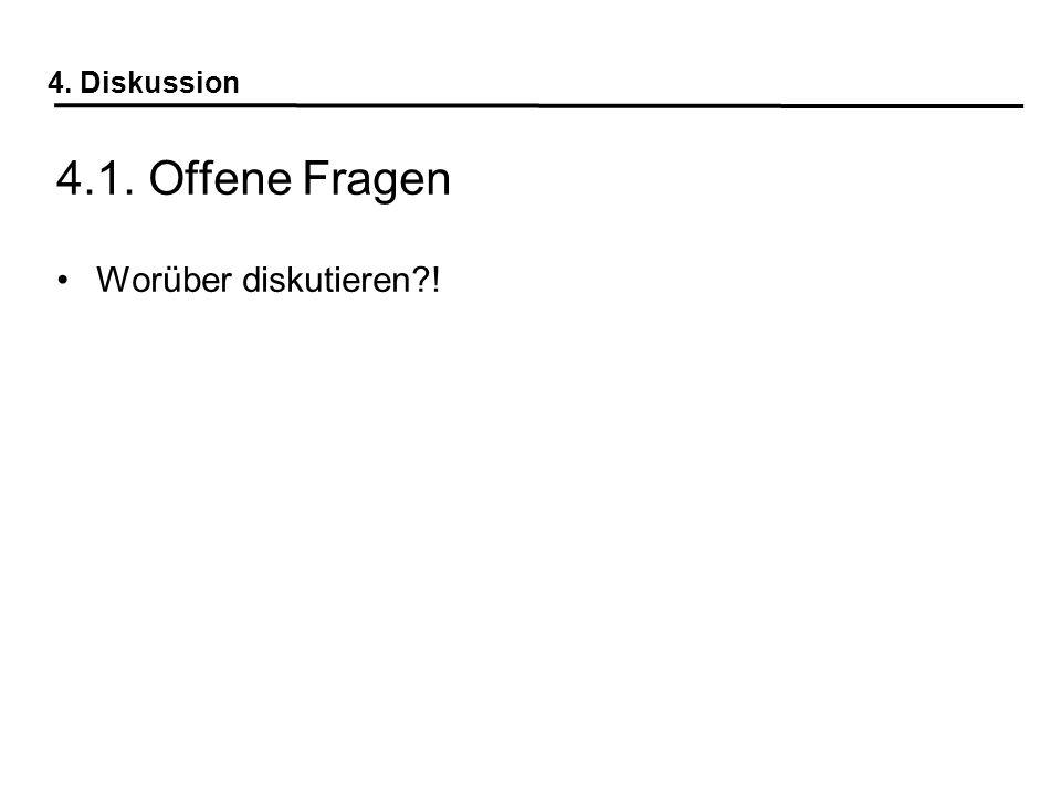 4. Diskussion 4.1. Offene Fragen Worüber diskutieren !