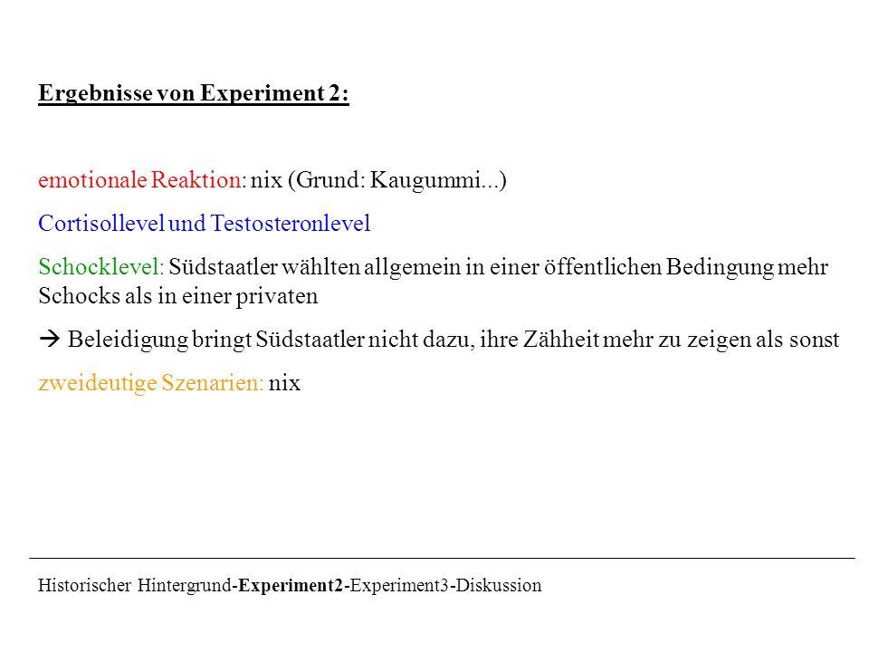 Ergebnisse von Experiment 2: