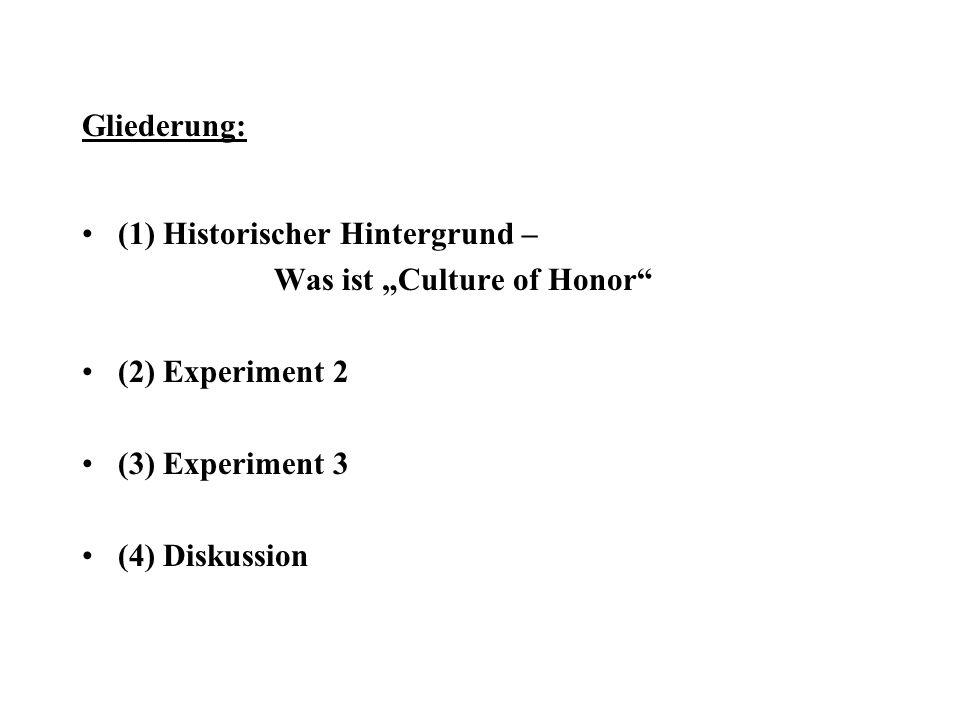 """Gliederung: (1) Historischer Hintergrund – Was ist """"Culture of Honor (2) Experiment 2. (3) Experiment 3."""