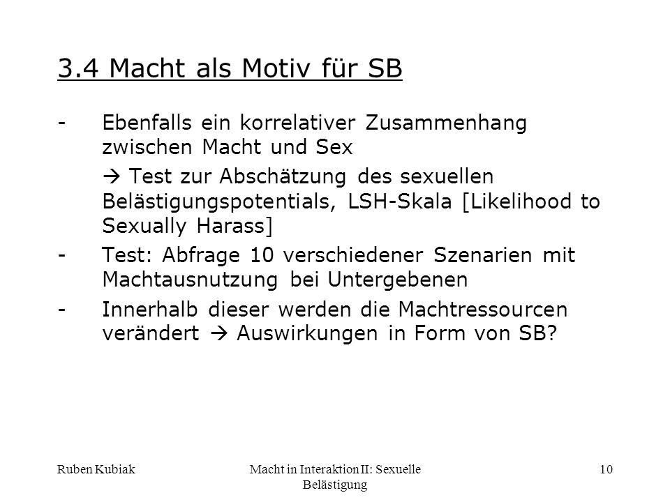 Macht in Interaktion II: Sexuelle Belästigung