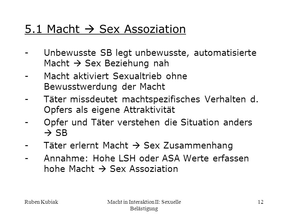 5.1 Macht  Sex Assoziation