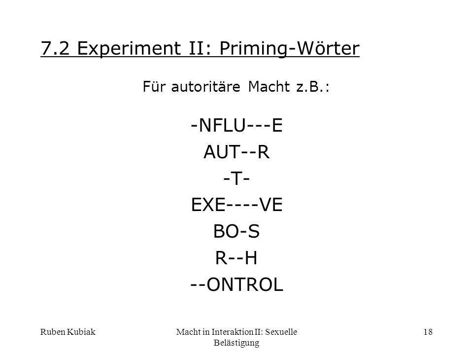 7.2 Experiment II: Priming-Wörter