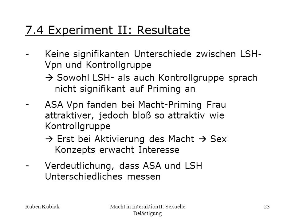 7.4 Experiment II: Resultate