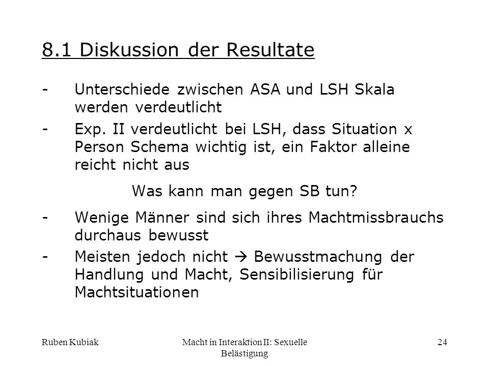 8.1 Diskussion der Resultate