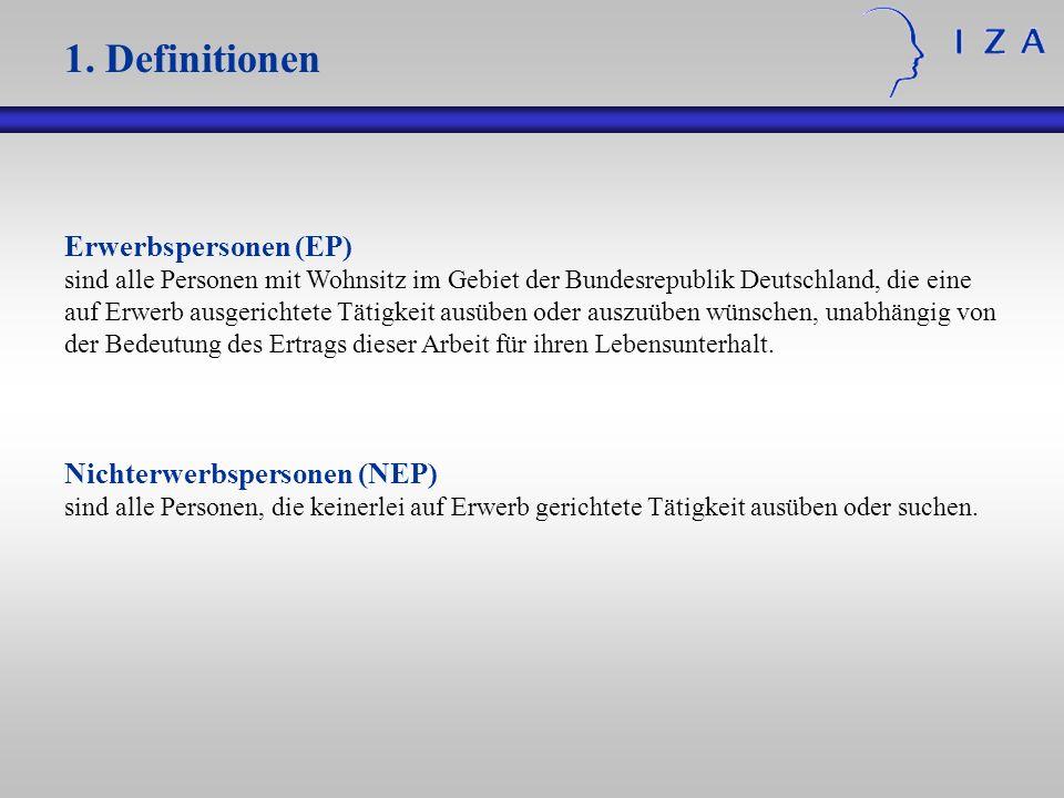 1. Definitionen Erwerbspersonen (EP) Nichterwerbspersonen (NEP)