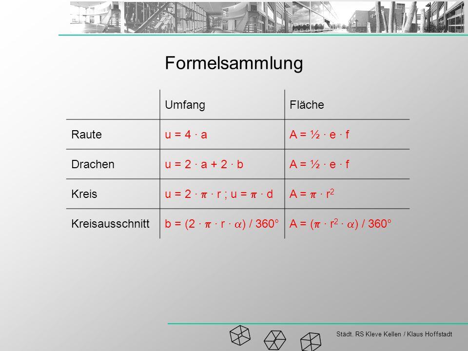Formelsammlung Umfang Fläche Raute u = 4 · a A = ½ · e · f Drachen
