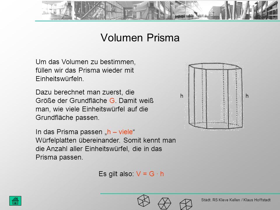 Volumen Prisma Um das Volumen zu bestimmen, füllen wir das Prisma wieder mit Einheitswürfeln.