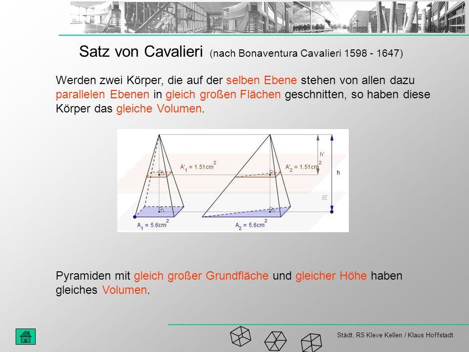 Satz von Cavalieri (nach Bonaventura Cavalieri 1598 - 1647)