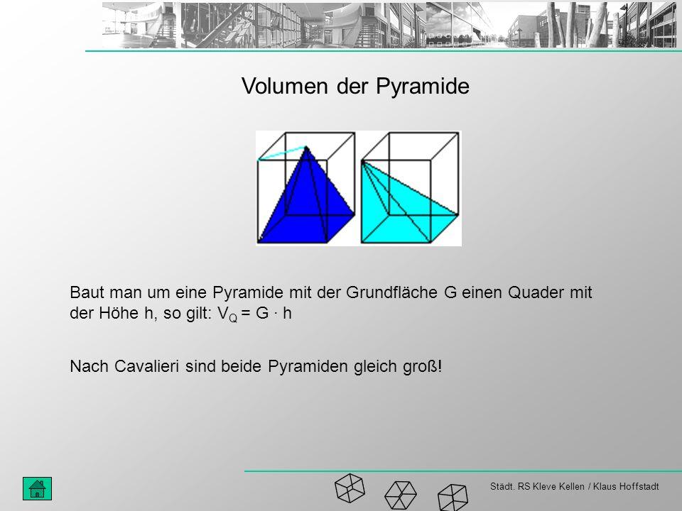 Volumen der Pyramide Baut man um eine Pyramide mit der Grundfläche G einen Quader mit der Höhe h, so gilt: VQ = G · h.