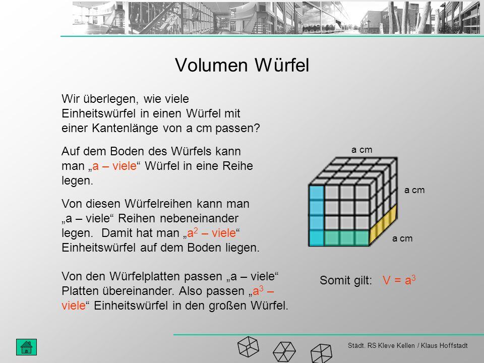 Volumen Würfel Wir überlegen, wie viele Einheitswürfel in einen Würfel mit einer Kantenlänge von a cm passen