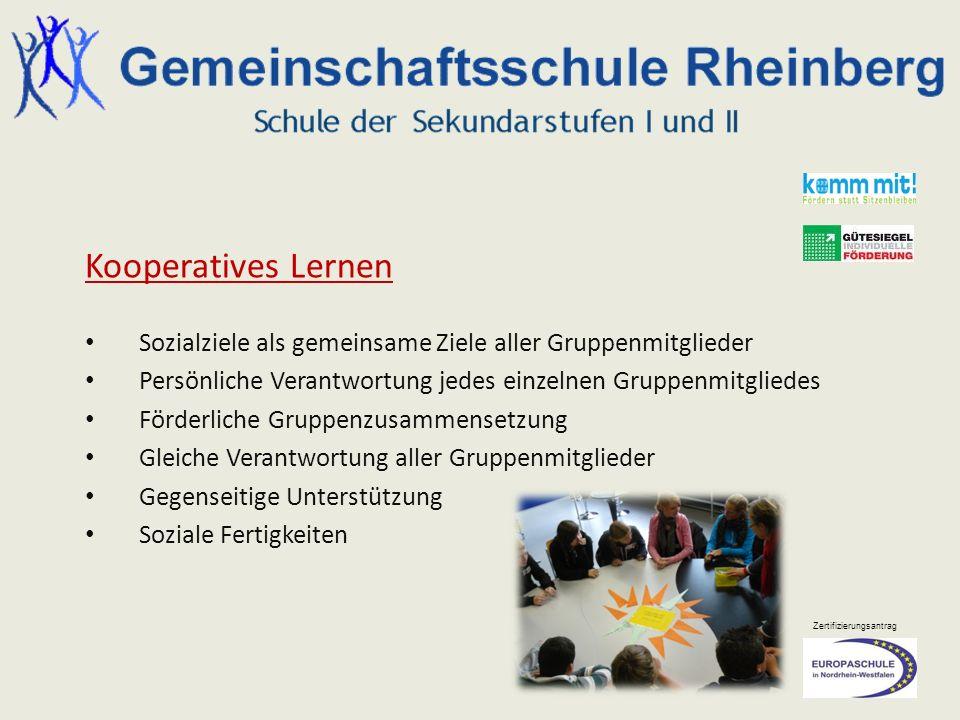 Kooperatives Lernen Sozialziele als gemeinsame Ziele aller Gruppenmitglieder. Persönliche Verantwortung jedes einzelnen Gruppenmitgliedes.