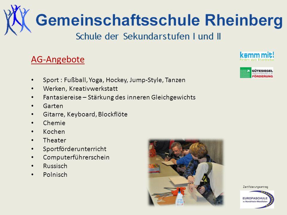 AG-Angebote Sport : Fußball, Yoga, Hockey, Jump-Style, Tanzen
