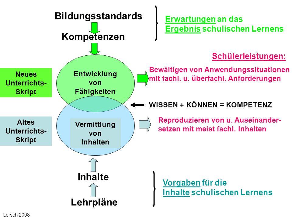 Bildungsstandards Kompetenzen Inhalte Lehrpläne