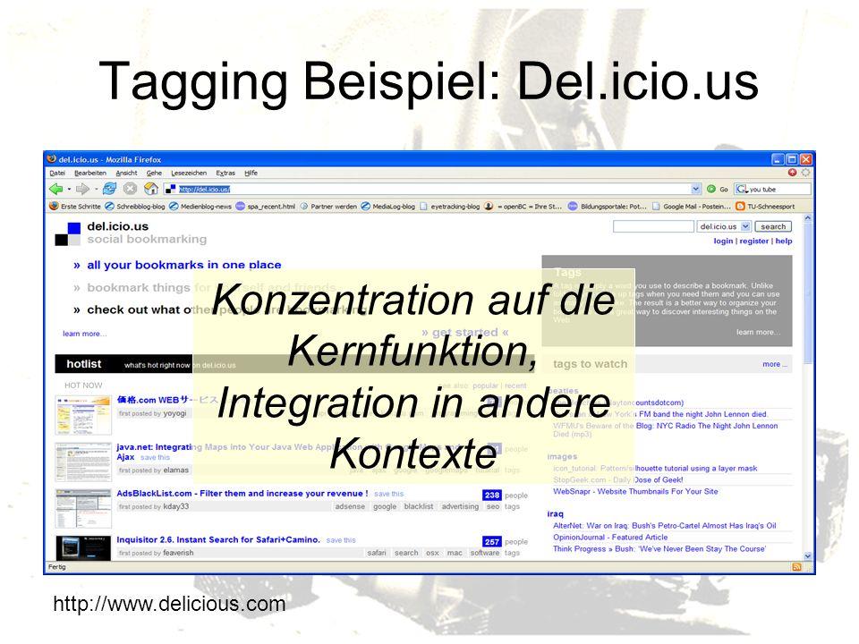 Tagging Beispiel: Del.icio.us
