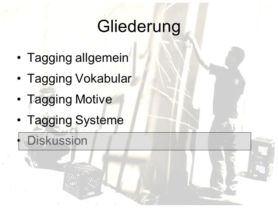 Gliederung Tagging allgemein Tagging Vokabular Tagging Motive