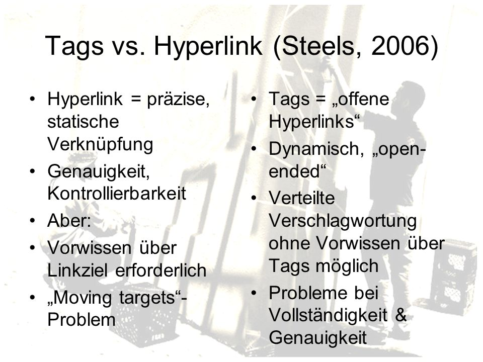 Tags vs. Hyperlink (Steels, 2006)