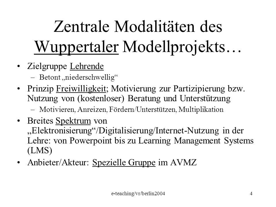 Zentrale Modalitäten des Wuppertaler Modellprojekts…