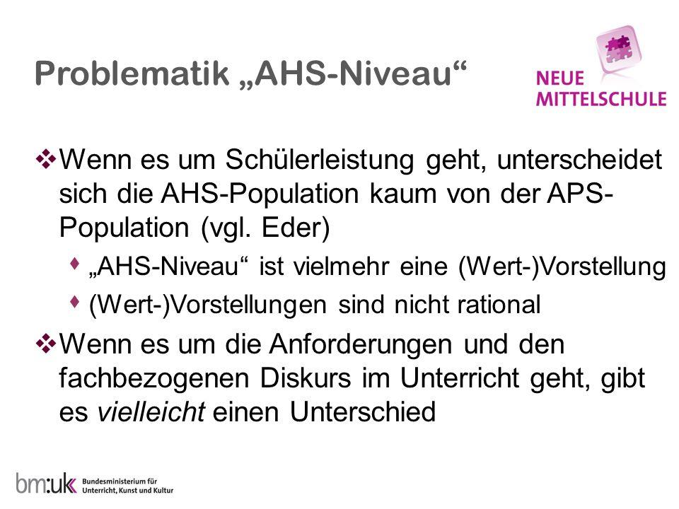 """Problematik """"AHS-Niveau"""