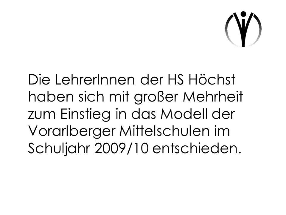 Die LehrerInnen der HS Höchst haben sich mit großer Mehrheit zum Einstieg in das Modell der Vorarlberger Mittelschulen im Schuljahr 2009/10 entschieden.