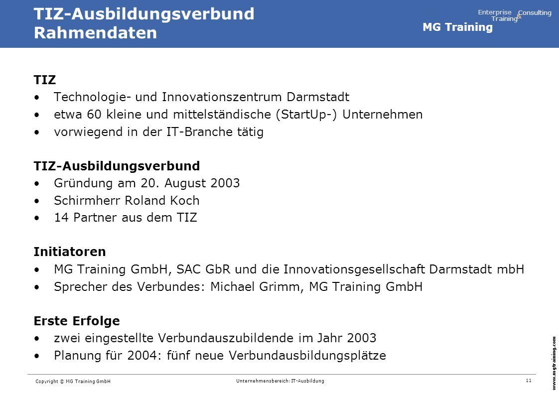 TIZ-Ausbildungsverbund Rahmendaten