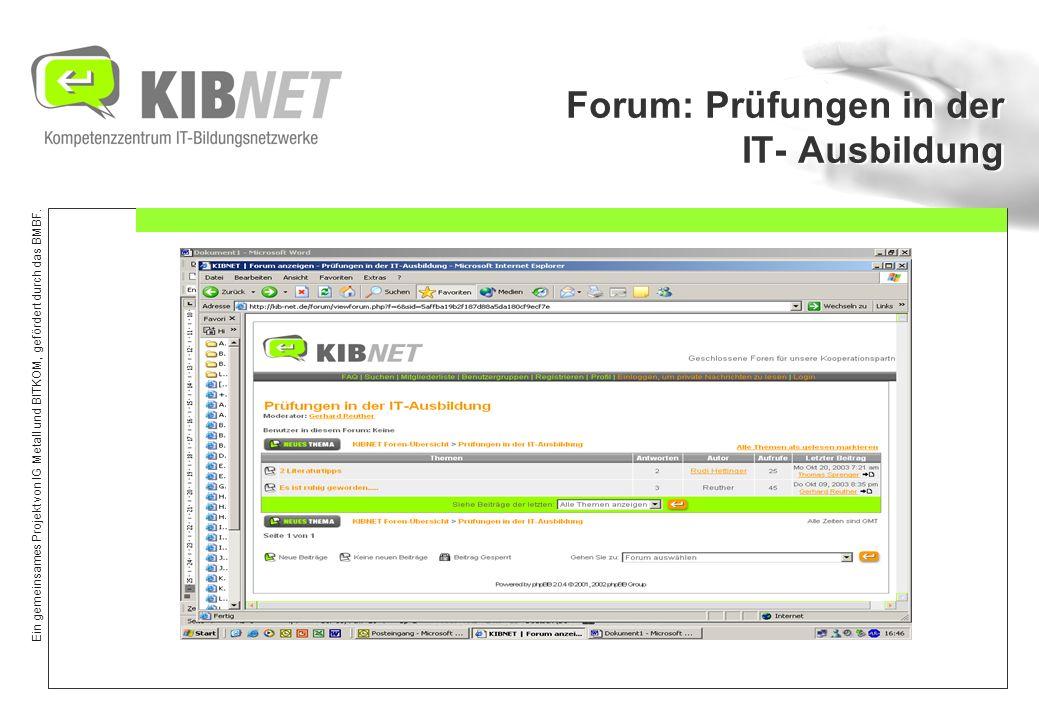 Forum: Prüfungen in der IT- Ausbildung