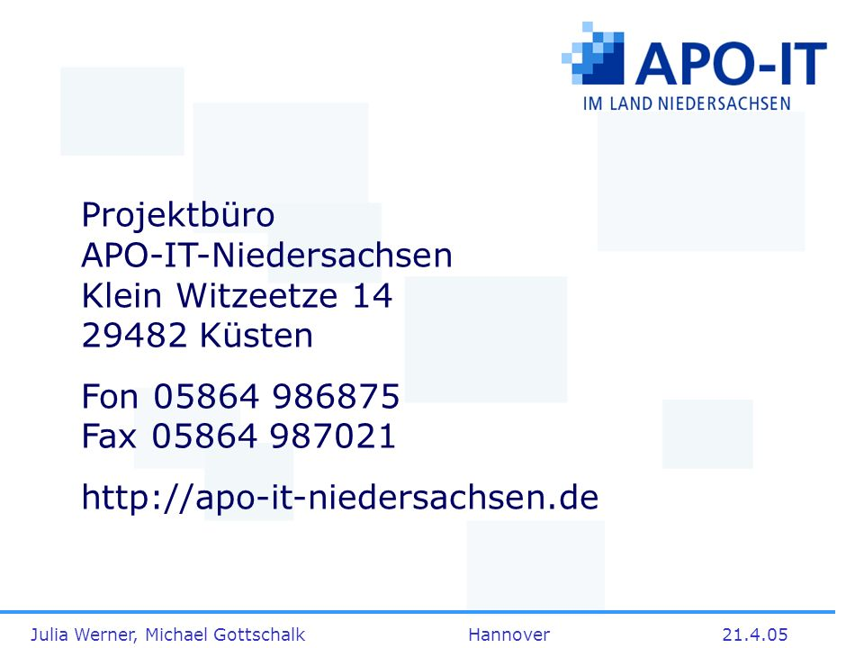 Projektbüro APO-IT-Niedersachsen Klein Witzeetze 14 29482 Küsten