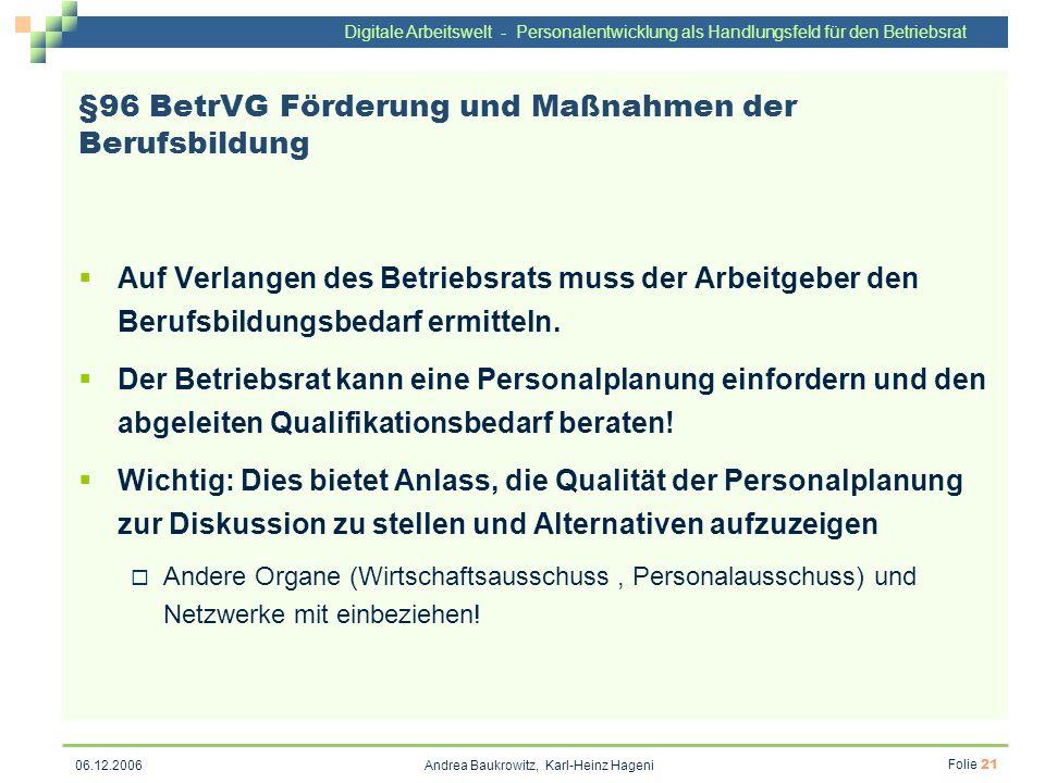 §96 BetrVG Förderung und Maßnahmen der Berufsbildung