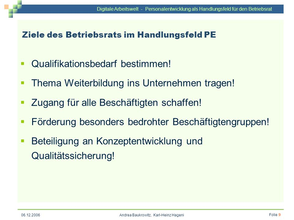 Ziele des Betriebsrats im Handlungsfeld PE